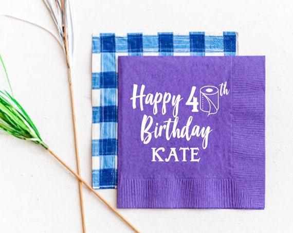 40th birthday napkins, Quarantine birthday napkins, Funny birthday napkins, Personalized birthday napkins, Beverage napkins, over the hill