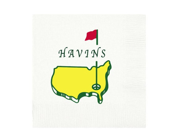 Golf party napkins, Masters napkins, Masters theme party, Golf birthday party, Personalized napkins, Full color printing, Full color napkins