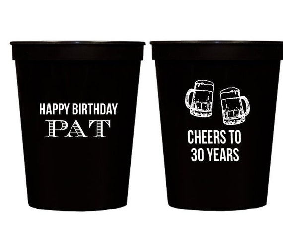 personalized 30th birthday cups, Cheers to 30 cups, birthday party cups, personalized plastic stadium cups, cheers to 30 years