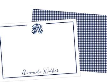 wedding monogram stationery, interlocking monogram stationery, monogrammed notecards, monogrammed stationary set, gingham notecards