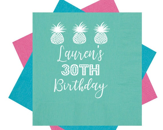 Personalized Birthday Napkins 30th Birthday Beverage Napkins Custom Cocktail Napkins Birthday Party Supplies Pineapple Napkins Foil stamped