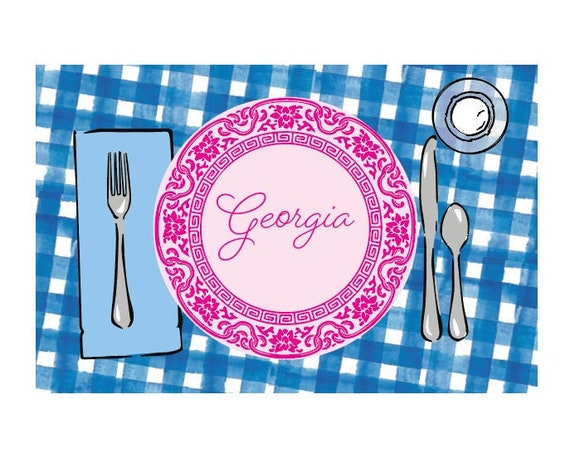 Personalized placemat, Gingham placemat, Kids Personalized Placemat, Customized Placemats for kids, Kids Placemat, Personalized Kids Gift