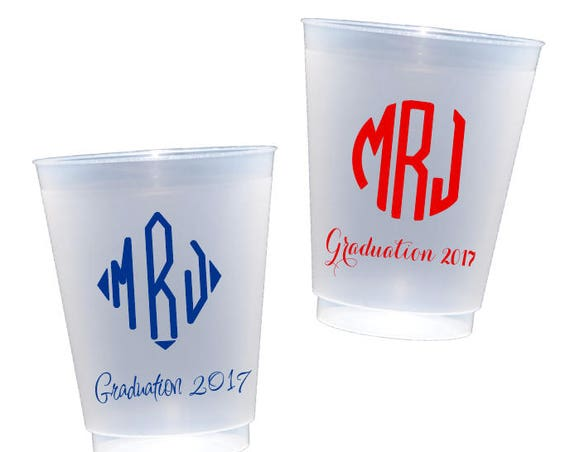 Monogrammed Graduation cups, Personalized graduation cups, monogrammed shatterproof cups, Class of 2018 cups, monogrammed plastic tumbler
