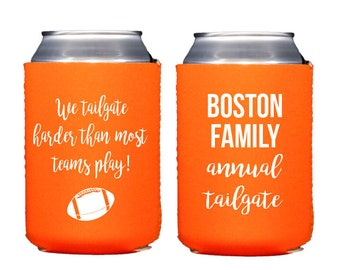 Tailgate can cooler, personalized can coolers, custom drink sleeve, football party hugger, adult birthday party favor, personalized favor K1