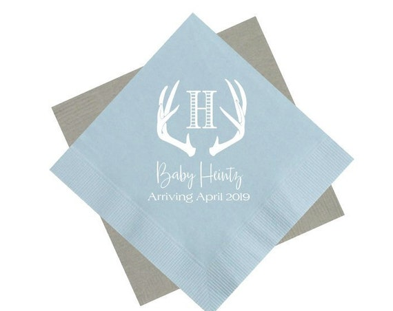 Baby shower napkins, Baby boy shower napkins, Antler napkins, Personalized napkins, Shower napkins, Rustic baby shower napkins, It's a boy