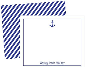boys stationery anchor stationery baby stationery stripe stationery set personalized notecards flat notecard blue and white stripes