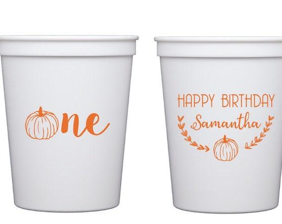 Pumpkin birthday, Pumpkin first birthday cups, First birthday party cups, Halloween birthday party, Kids birthday party cups, Pumpkin theme