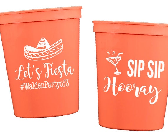Let's fiesta cups, Let's fiesta shower cups, fiesta party cups, fiesta baby shower, fiesta wedding shower, personalized plastic cups