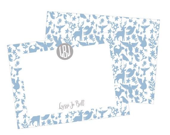 Otomi print stationery, Otomi notecards, Baby boy stationery, Children's stationery, Kids stationery, Monogrammed stationery, Monogram notes