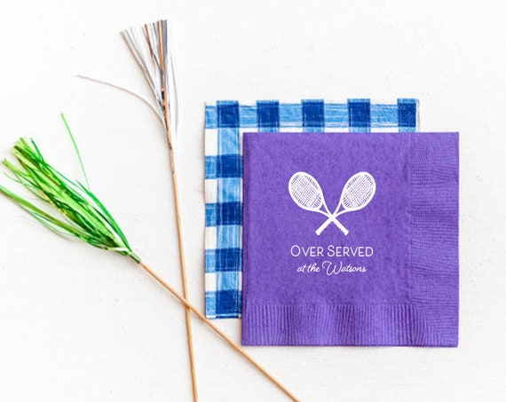 Over served tennis napkins, Personalized napkins, Tennis napkins, Tennis gift idea, Tennis team napkins, Tennis lover gift idea