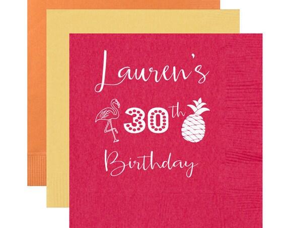 30th birthday napkins, Pineapple napkins Flamingo napkins, Beach birthday party, Pool party napkins, personalized birthday napkins