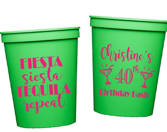 Fiesta 40th birthday cups, Cheers to 40 birthday, birthday party cups, personalized plastic stadium cups, fiesta siesta tequila repeat BC1