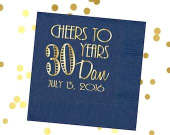 30th Birthday napkins, Cheers party napkins, navy and gold foil napkins, birthday party decor, birthday party supplies, cheers party favors