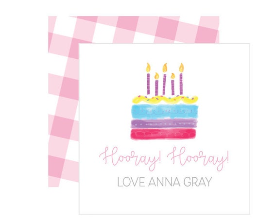 Gingham gift tags, Personalized enclosure cards, Pink gingham stationery, Birthday gift tag, Girls stationery, Gingham enclosure card