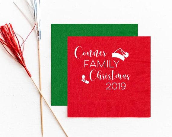 Christmas napkins, Personalized napkins, Christmas party napkins, Holiday party napkins, Family Christmas napkins, Santa napkins