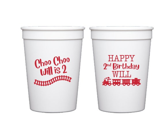Tain birthday cups, Choo choo birthday cups, Train theme party, Personalized plastic cups, Kids birthday cups, Second birthday party cups