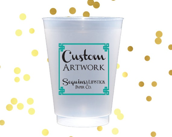 custom shatterproof cups, personalized cups, party cups, monogrammed frosted cups, wedding cup favors
