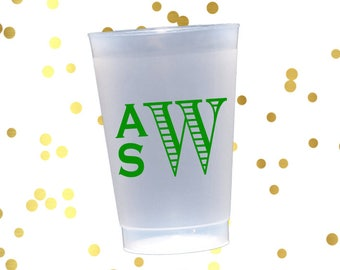 Monogrammed frosted cups, monogrammed shatterproof cups, hostess gift, engagement party cups, pool party tumblers, housewarming gift idea