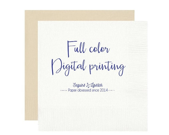 Full color napkin printing, Digital full color printing, Watercolor artwork printing, Wedding napkins, Personalized napkins, Foil stamped