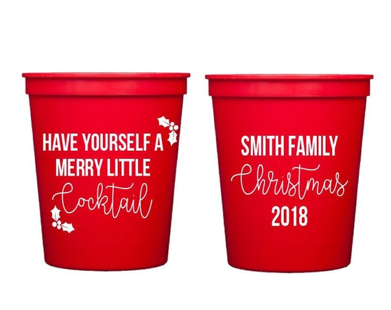 Christmas cups, Christmas party cups, Holiday party cups, Merry little cocktail, Family Christmas party, Personalized cups, Custom cups