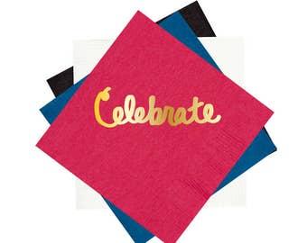 Foil stamped party napkins, cocktail napkins, celebrate party napkins, gold foil napkins, birthday party napkins, bar cart napkins