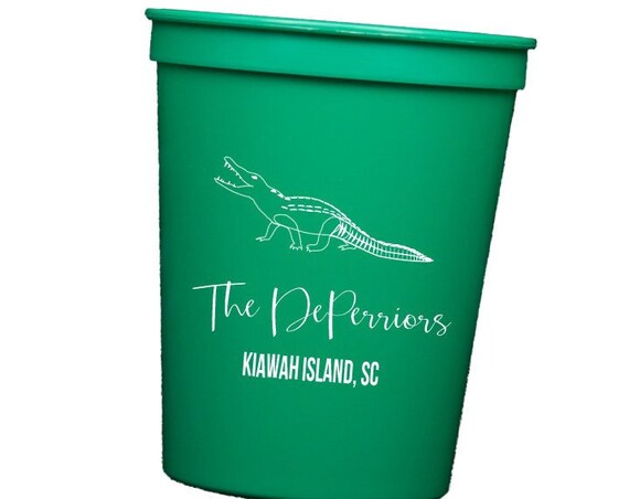 Alligator cups, gator cups, hostess gift idea, personalized cups, hostess gift idea, disposable plastic cups,  lake house cups