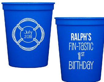 Fin-tastic birthday party, shark theme birthday party, fishing theme birthday, first birthday party, kids birthday party, personalized cups