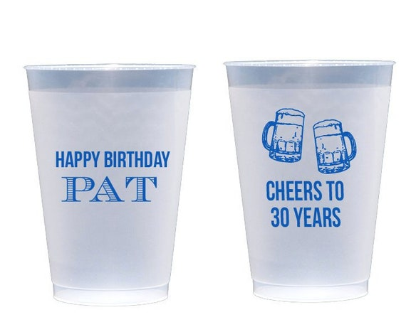 30th birthday cups, 40th birthday party cups, Cheers to 30 years, Beer cups, Personalized shatterproof cups, Personalized frosted cups