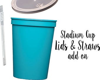 Personalized plastic lids, custom cups with straws, lids and straws add on