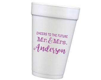 engagement party cups, newly engaged, couples shower cups, personalized foam cups, personalized cups, monogrammed cup, wedding reception cup