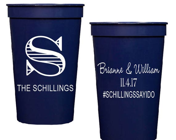 Wedding stadium cups, wedding cup favors, Personalized plastic cups, reception cups, personalized cups, rehearsal dinner cups, shower favor