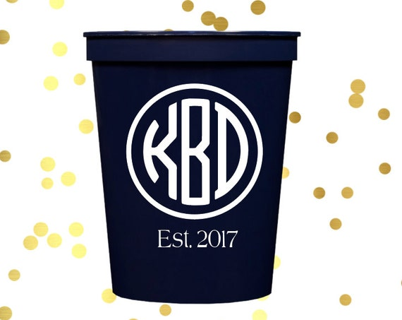 Monogrammed wedding cups, Monogrammed reception cups, Monogrammed plastic cups, Personalized plastic cups, Personalized wedding favor,