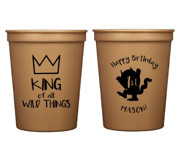 Wild things birthday party, Where the wild things are party cups, King of all wild things, Personalized birthday cups, Wild one birthday