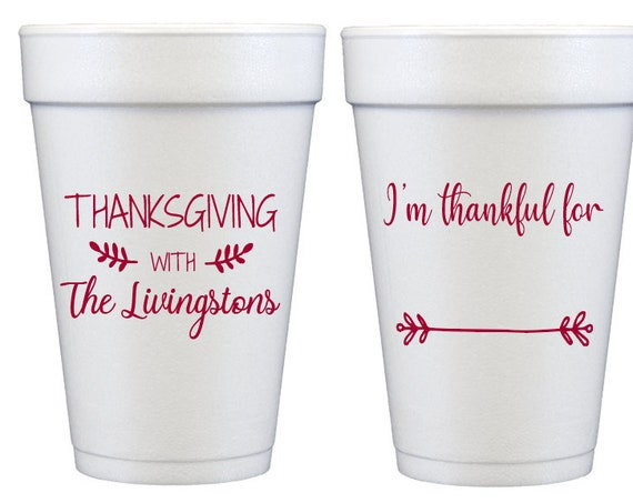 Thanksgiving cups, Personalized Thanksgiving cups, Fill in the blank thanksgiving foam cups, I'm thankful for, thankful cups, be thankful