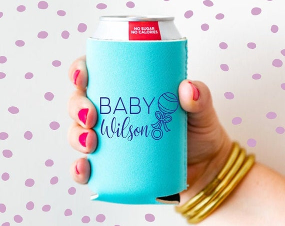 Baby shower favor, Baby shower can cooler, Baby shower decor, Gender reveal party favor, Personalized can cooler, Welcome home baby gift