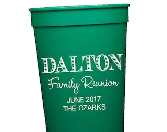 Family reunion cups, personalized plastic cups, reunion party favors, personalized stadium cups, custom party cups, family reunion cup