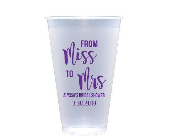 Miss to Mrs cups, Soon to be Mrs cups, Wedding shower cups, Bridal shower cups, Personalized cups, Customized cups, Custom wedding cups