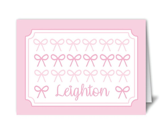 Personalized stationery, Bow stationery, Girls stationery, Folded notecards, Monogrammed stationery, Personalized thank you notes, Pink bows