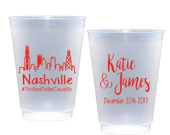 Nashville wedding favor, Personalized shatterproof cups, personalized plastic, wedding cups, personalized reception cups