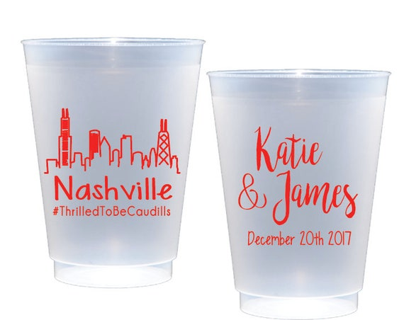 Nashville wedding favor, Personalized shatterproof cups, personalized plastic, wedding cups, personalized reception cups