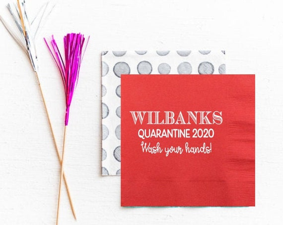 Wash your hands napkins, Quarantine napkins, Funny quarantine gift, Social distancing gift, Stay home, Personalized napkins, funny gift idea