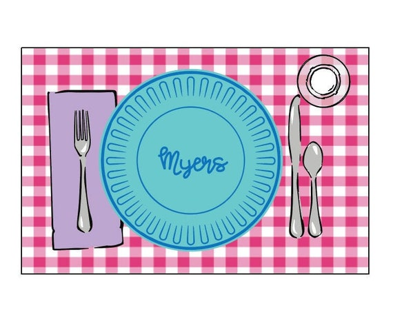Personalized placemat, Laminated placemat, Kids Placemat, Customized Placemats for kids, Craft mat, Gingham placemat, Play dough mat