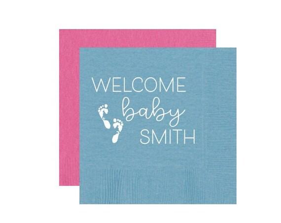 Gender reveal napkins, Gender reveal party decor, Baby shower napkins, Baby shower decorations, Baby shower favor, Personalized napkins