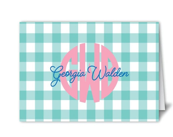 Gingham monogrammed stationery, Gingham notecards, Ladies stationery, Girls stationery, Gingham print, Monogrammed gift idea