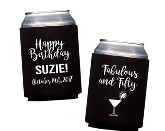 50 and fabulous huggie, Personalized birthday can cooler, party favor drink sleeve, 50th birthday neoprene personalized hugger