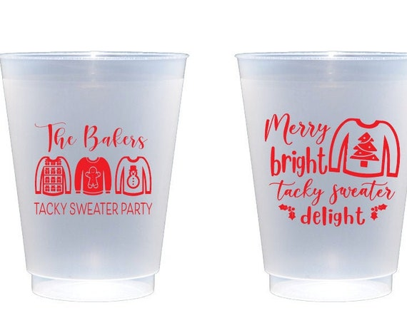 Tacky sweater cups, Christmas party cups, Holiday party cups, Ugly sweater cups, Merry bright tacky sweater delight, Personalized cups