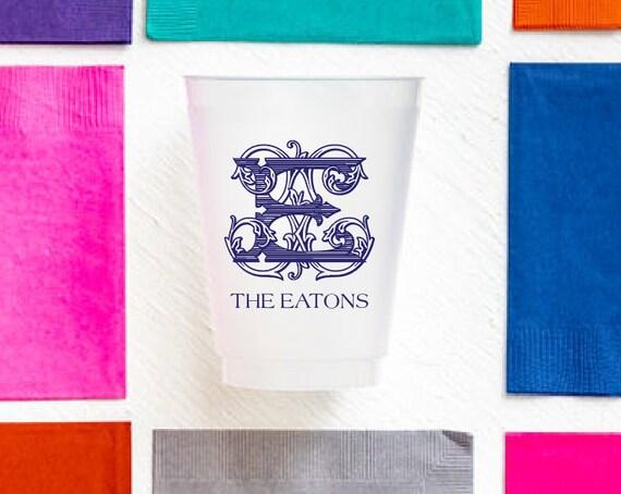 Monogrammed cups, Vintage monogram cups, Wedding cups, Wedding reception cups, Housewarming party cups, Housewarming gift idea