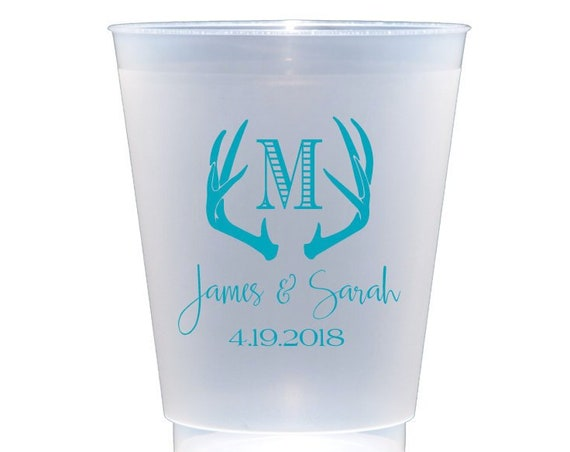 Antler cups, Personalized plastic cup, shatterproof cup, wedding cup set, wedding cup favors, reception cups