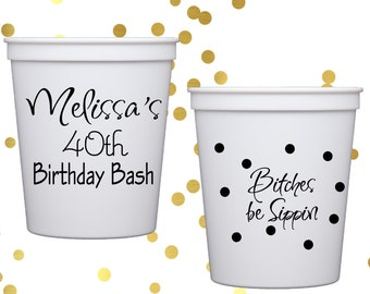 40th birthday cups, personalized plastic cups, 30th birthday party cups,  40th birthday party decorations, pink party favor