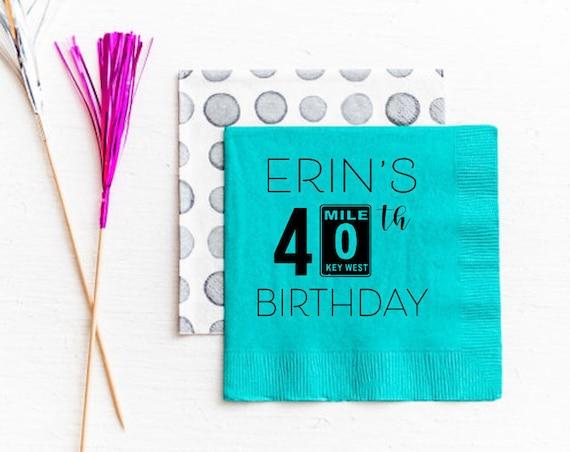 Key West 40th birthday napkins, Personalized birthday napkins, Mile marker zero napkins, Key West napkins, Beach birthday napkins